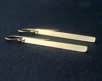 Gold Filled, or Rose Gold filled, or Sterling Silver earrings- skinny bar