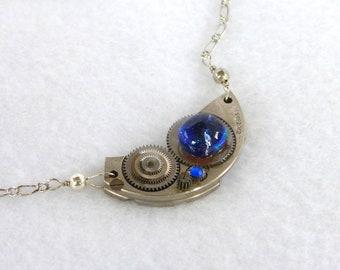 Steampunk Necklace --Vintage Pocket Watch Plate SN230