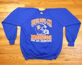 Vintage 80s Denver Broncos Super Bowl Trench Sweatshirt 90s Shirt XL