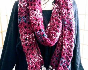 Crochet Super Fringed Scarf- Winter Merlot