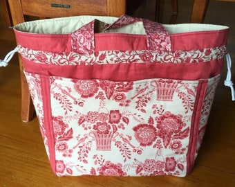 A Large Carry All Draw String Shoulder Bag with Large Deep Pockets Sewing Tutorial PDF Download
