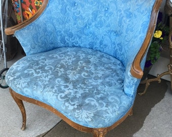 35% OFF SALE Darling powder blue boudoir chair ornate wood detail wide chair tufted back fench inspired