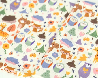 Forest Animals Patterned Fabric, Fox Owl Rabbit Bear Raccoon Squirrel Giraffe Hedgehog made in Korea by Half Yard