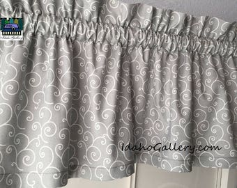 "Gray Valance with White Swirls Decorative Curtain Modern Decor Short Valance Bedroom Curtain Kitchen Curtain 11"" x 42"" Wide"