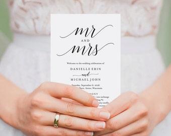Wedding Program Template, Wedding Program Printable, Ceremony Printable Template, Editable Program, PDF Instant Download #BPB310_3