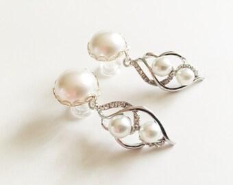 2g Dangle Plugs 0g Silver Ear Plugs 6g 4g Bridal Plugs 00g Pearl Plugs 10mm 8mm 6mm 5mm Gauge Formal Wedding Crystal Dangle Ear Plugs