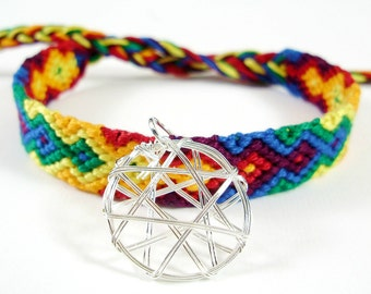 Rainbow Flame Charm Bracelet - Handmade Friendship Bracelet with Wire Charm