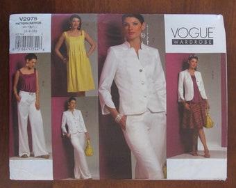VOGUE PATTERN - 2975 Ladies Jacket, Shaped Yoke, Pleated Dress & Top, Wide Leg Pants, Flared Yoked Skirt,Size (6-8-10), 12-14-16) Uncut