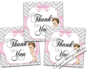 Princess baby shower Thank you tags. Chevron thank you tags. Birthday Thank you tags. Printable thank you tags or labels
