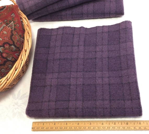 Fat 1/4 yard, Purple Plaid, Mill Dyed Wool Fabric, W438,  medium purple plaid, Grape juice purple, Violet purple, Amethyst