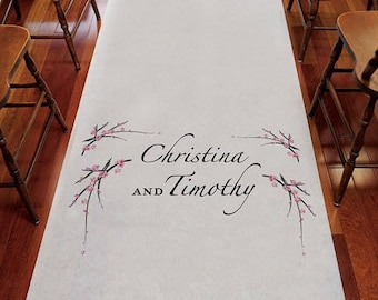 Cherry Blossom Personalized Aisle Runner Wedding Ceremony Decoration