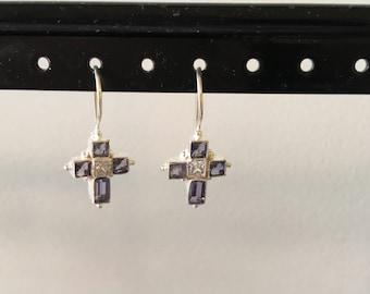 Iolite and cz cross earring