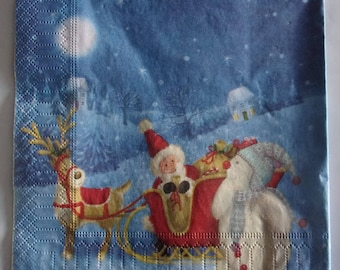 20 napkins identitiques Santa and his sleigh REF.   3860