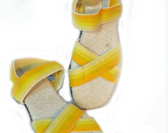 Yellow Ombre Sandals Terry Cloth Sandals