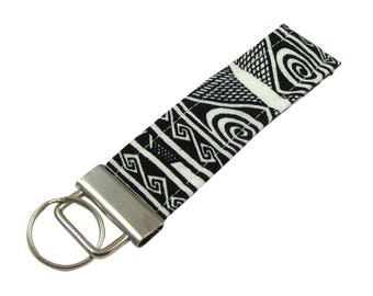 Personalized Key Chain / Key Fob Black and White Design With Optional Initials