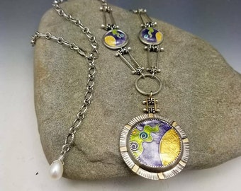 Abstract Fine Cloisonne Necklace Pinned Cloisonne Chain READY TO SHIP Green Gold Purple 14k 24k Sterling Silver Pearl Adjustable