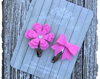 READY TO SHIP, Hot Pink Wool Felt Flower Mini Bow Clip Set, Baby Clips, Infant Girls Adult Mini Snap Clips