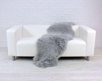 Giant genuine British DOUBLE sheepskin rug dyed silver grey 185cm x 70cm D20