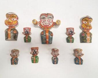 India Jagannath, Baladeva, Subhadra, deities, idols, Gods wooden totem carved dolls Indian bringer of happiness.  Lot of 9 Pieces, vintage
