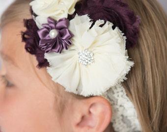 plum elastic headbands, ivory flower headband, plum wedding flower girl gift, bridal headband, flower girl headband, girl birthday gift