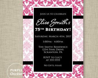 Hot Pink Invite 30th 40th 50th 60th 75th Birthday Invitation Pink and Black Invite Elegant Invite Damask Adult Invite Printable JPEG file 12