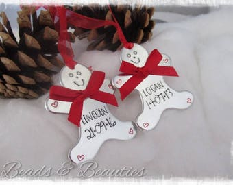 Personalised Christmas Gingerbread Man Tree Decoration, handstamped, personalized Xmas Dec,
