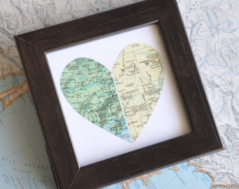 Personalized Map Heart Long Distance Relationship Framed Map Art