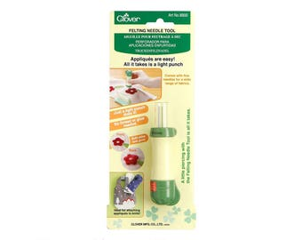 Clover Needle Felting Tool Article 8900. Great for attaching appliques! Locking safety device. Use to attach appliques. Needle felting punch