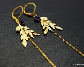 Leaf earrings, gold earrings, fine gold, semi precious stones