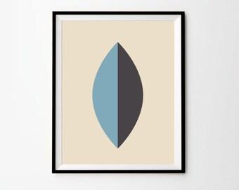 Scandinavian Leaf,  5 x 7 in, 8 x 10 in,  11 x 14 in, Blue and Grey Art, Scandinavian Design, Scandinavian print, Leaf art, Blue art print
