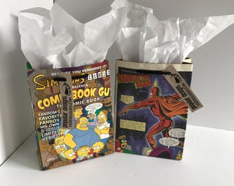 2 Simpsons Comic gift bags / Recycled comic book/ handmade superhero gift bag / recycled comic gift bag