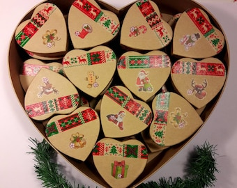 Heart box, hand made advent calendar and 24 mini boxes dated