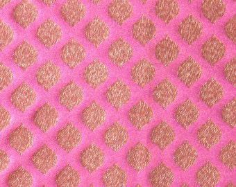pink and gold brocade fabric with geometric motifs - 1 yard - br085