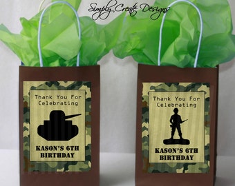 SALE Army Party Favor Tag Camo DIGITAL FILE 4x6 Jpeg Digital File Personalized