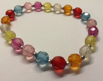 593. Elasticated colourful bracelet. Women's jewellery. One size fits all