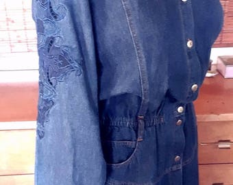 Vintage 80s Denim Cutwork Aplique Folk style button front   boho Midi Dress L
