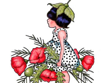 Hand Drawn Clipart, Small Girl With Red Poppies, Commercial Use Clipart, Temporary Tattoo, Whimsical Art, instant Download