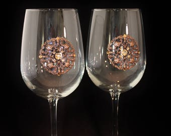 Jeweled Wine Glass Set