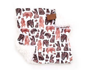 Lovey Watercolor Bears. Lovey. Bear Lovey. Woodland Lovey. Mini Baby Blanket. Security Blanket. Lovie. Minky Lovey.