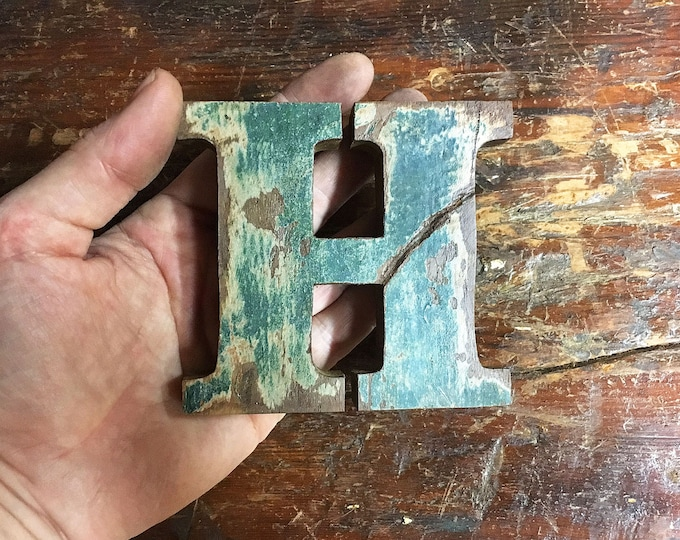 "Beach Decor Wooden LETTER ""H"" Vintage Style Nautical by SEASTYLE"