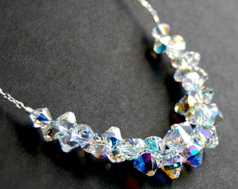 Aurora Borealis Swarovski Crystal Necklace, Bridal Necklace, AB Clear Crystal Icicle, Wedding Jewelry, Wedding Necklace, Sterling Silver