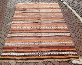 "Striped Kilim rug, 99"" x 65"" inches, Vintage Turkish kilim rug, area rug, kilim rug, kelim rug, vintage rug, bohemian rug, Turkish rug, 533"