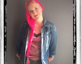 Extra Pink Extra Long Tasseled Beanie Hat