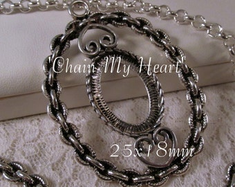 25x18mm Antique Silver Setting - 'Chain My Heart' - 1 pc : sku 08.07.15.4 - W39