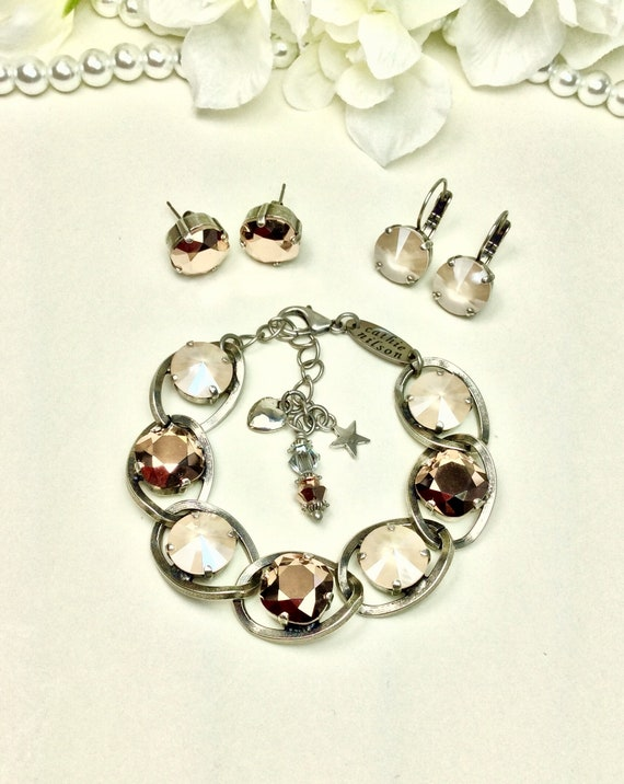 Swarovski Crystal 12MM Bracelet - Designer Inspired - Chunky Chain and Sparkling Rose Gold and Ivory Cream -  FREE SHIPPING