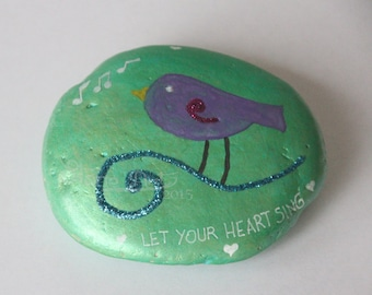 """Sparkling iridescent bird pebble """"let your heart sing"""""""