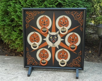 "25"",  Halloween, Game Board, Black Cat, Pumpkins, Game Boards, Ring Toss, Board Game, Wood, Wooden, Handpainted"