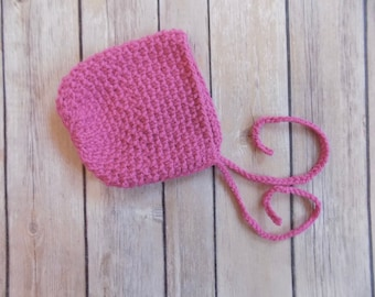 Newborn Baby Bonnet, Knit Baby Girl Bonnet, Pink Knit Bonnet