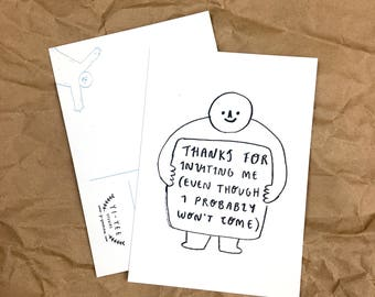 Thanks for Inviting Me! A6 Illustrated Postcard