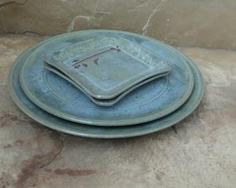 SALE - Serving Platter Plate Set of 4 - Handmade Stoneware Ceramic Pottery - Desert Moss Green - Ginkgo and Cicada